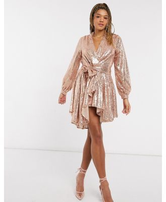 Forever U embellished mini blazer dress in rose gold