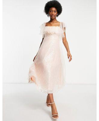 Forever U organza bardot midi dress in pink sequin