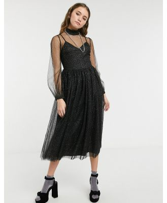 Forever U sheer balloon sleeve midi skater dress in black