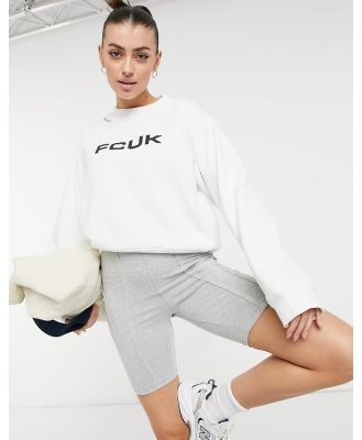 French Connection FCUK sweatshirt in white co-ord