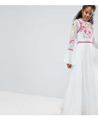 Frock And Frill Tall Embellished Top Pleated Maxi Dress - White
