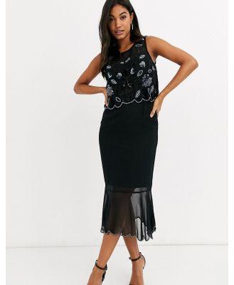 Frock & Frill sleeveless peplum dress-Black