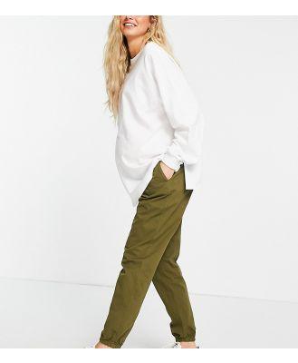 GeBe Maternity cargo track pants in khaki-Green