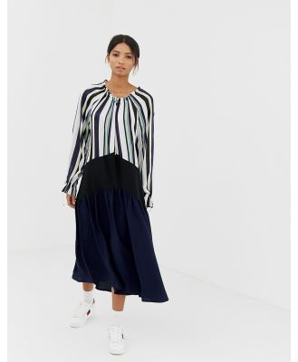Ghospell oversized midi dress with pleated skirt in colour block stripe - Navy