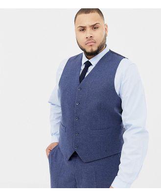Gianni Feraud Plus slim fit wool blend heritage donnegal waistcoat-Navy