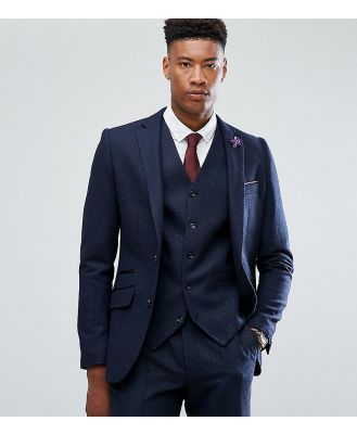 Gianni Feraud TALL Slim Fit Navy Herringbone Suit Jacket