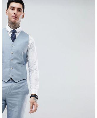Gianni Feraud Wedding Slim Fit Plain Linen Waistcoat-Blue