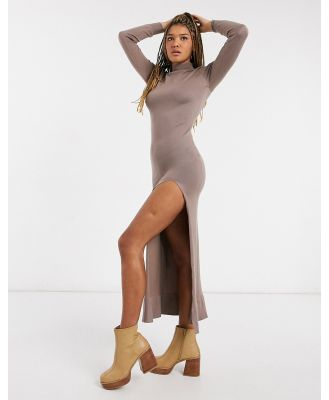 Girl In Mind knitted high-neck maxi dress with thigh split in mocha-Brown