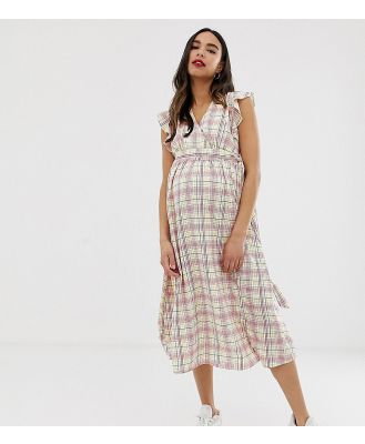 Glamorous Bloom midi dress with ruffle shoulders in grid check - White