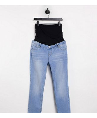 Glamorous Bloom straight leg jeans with over the bump band-Blue