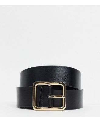 Glamorous Curve Exclusive black waist and hip jeans belt with gold square buckle