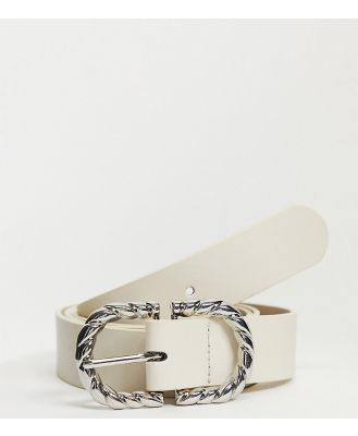Glamorous Curve Exclusive waist and hip jeans belt in cream with twisted metal buckle-Neutral