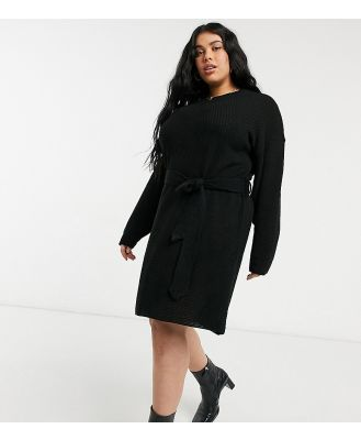 Glamorous Curve long-sleeved mini jumper dress with tie waist in black