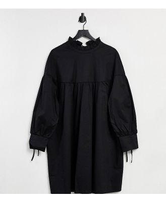 Glamorous Curve mini tiered smock dress with neck tie in black cotton