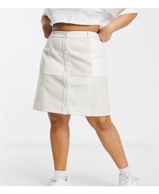 Glamorous Curve patchwork skirt in cream faux leather-White