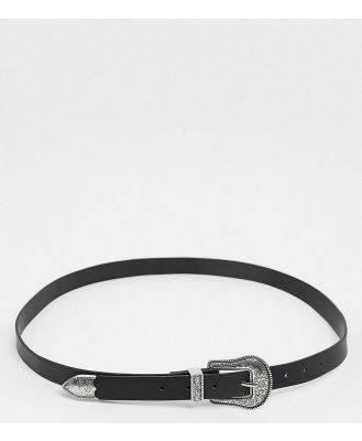 Glamorous Curve waist and hip jeans belt in black with western buckle
