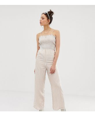Glamorous Tall cami jumpsuit with shirring in natural stripe - White