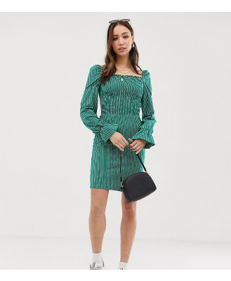 Glamorous Tall dress with puff sleeves in pinstripe - Green