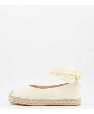 Glamorous Wide Fit ankle tie espadrilles in natural-Neutral