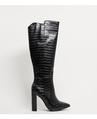 Glamorous Wide Fit over the knee boots in black croc