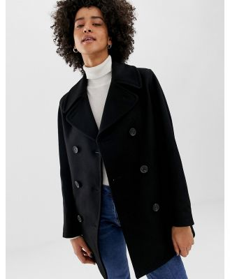 Gloverall Reefer double breasted coat in wool blend - Black