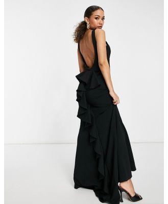 Goddiva halterneck fishtail maxi dress in black