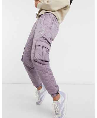 Grimey quilted track pants with logo co-ord-Grey