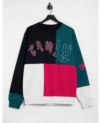 Grimey sweatshirt in colour-block black green and red