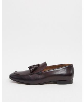 H By Hudson bolton tassel loafers in brown leather