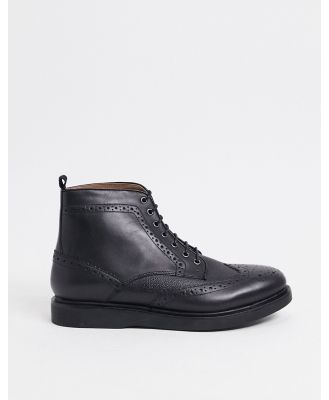 H by Hudson calverston brogues boots in black scotch