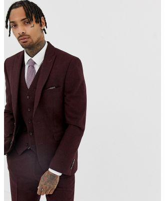 Harry Brown Burgundy Slim Fit Donnegal Suit Jacket-Red