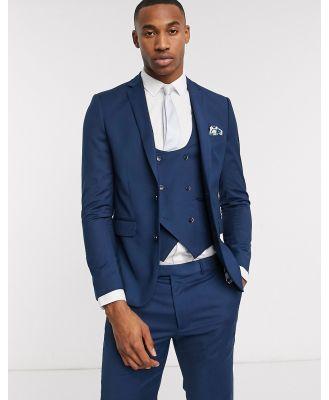 Harry Brown skinny fit stretch plain suit jacket-Blue