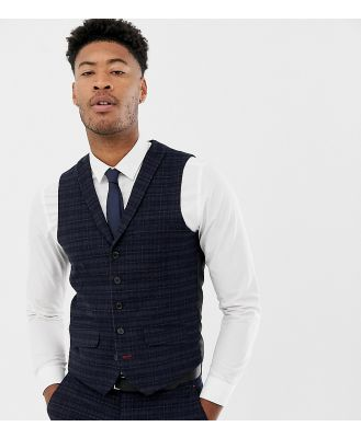 Harry Brown Tall navy and gold slim fit check suit waistcoat-Blue