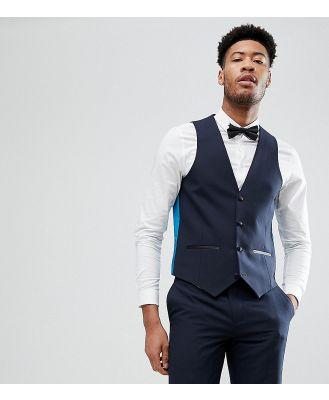 Harry Brown TALL Plain Navy Slim Tuxedo Waistcoat