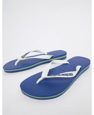Havaianas Brasil Logo thongs in blue