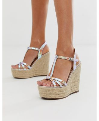 Head Over Heels Karrissa irridescent t-bar high espadrille wedges-Multi