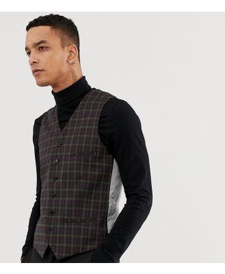 Heart & Dagger Super Skinny Waistcoat In Check-Green