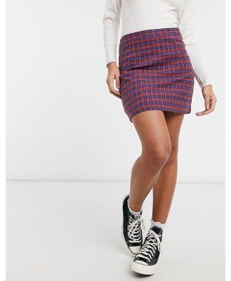 Heartbreak tailored mini skirt in red and blue check-Multi