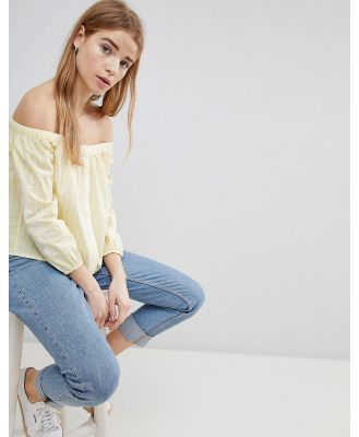 Hollister Off the Shoulder Button Thru Crop - Yellow