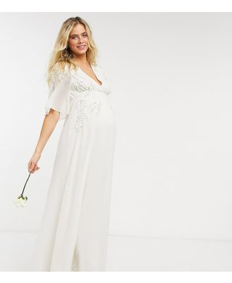 Hope & Ivy Maternity Bridal floral beaded and embellished maxi dress with v-neck in ivory-White