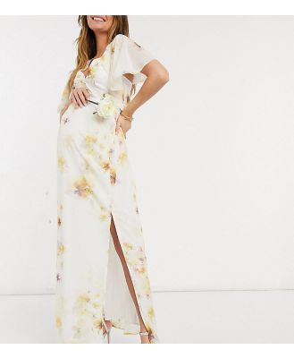 Hope & Ivy Maternity bridesmaid cape back maxi dress with split in soft yellow floral-Multi