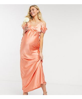 Hope & Ivy Maternity Bridesmaid cold shoulder satin slip midaxi dress in peach-Pink