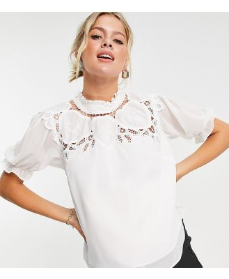 Hope & Ivy Maternity oversized collar blouse with broderie in ivory-White