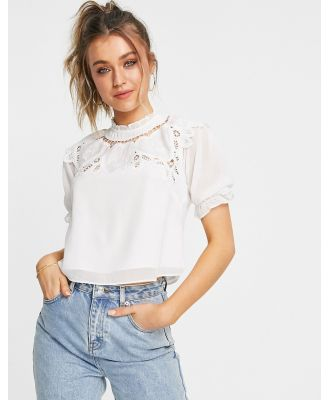 Hope & Ivy oversized collar blouse with broderie in ivory-White