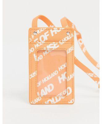 House of Holland logo lanyard cardholder in orange