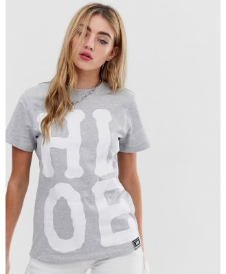 House of Holland X Lee T Shirt with Oversized Logo Detail - Grey