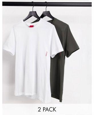 HUGO Bodywear 2 pack of t-shirts in khaki and white-Green