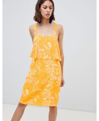 Ichi Floral Overlay Dress - Yellow