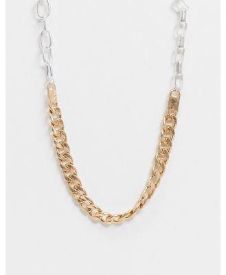 Icon Brand neckchain in gold and silver with mixed chain detail-Multi