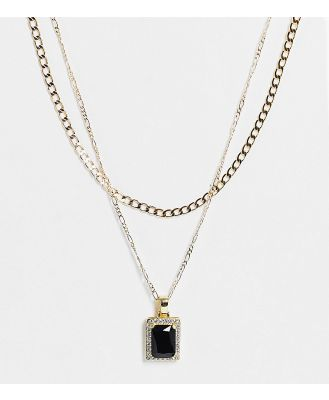 Image Gang crystal layering necklace set in gold plate